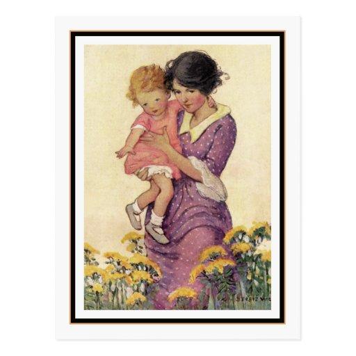 Madre y niño del vintage de Jessie Willcox Smith Tarjeta Postal
