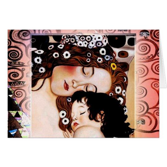 Madre y niño por el collage de Gustavo Klimt Tarjeta De Felicitación