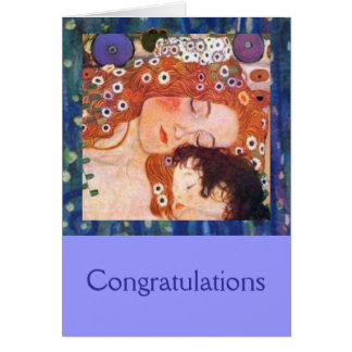 Madre y niño por Klimt Tarjeta