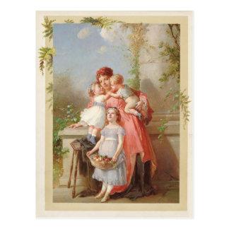 Madre y reproducción del vintage de los niños postal