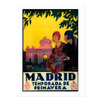 Madrid en poster promocional del viaje de la postal