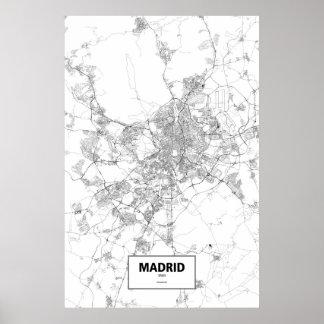 Madrid, España (negro en blanco) Póster