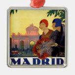 Madrid Temporada de Primavera - poster del arte Adorno Navideño Cuadrado De Metal