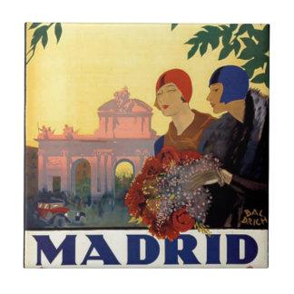 Madrid Temporada de Primavera - poster del arte Azulejo Cuadrado Pequeño