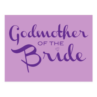 Madrina de la púrpura de la novia en púrpura postal