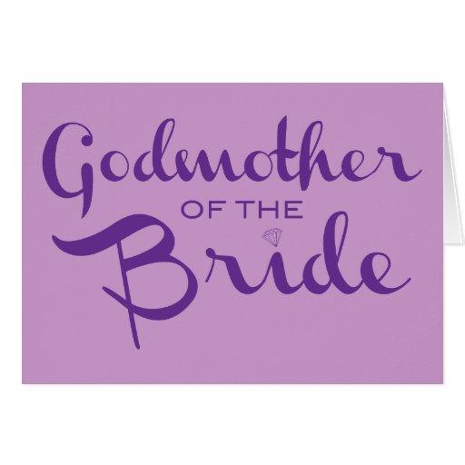 Madrina de la púrpura de la novia en púrpura felicitacion