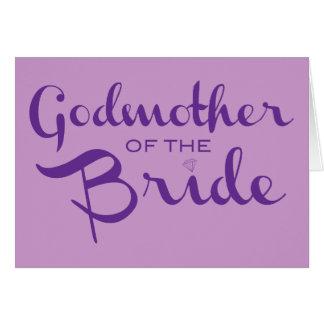 Madrina de la púrpura de la novia en púrpura tarjeta de felicitación