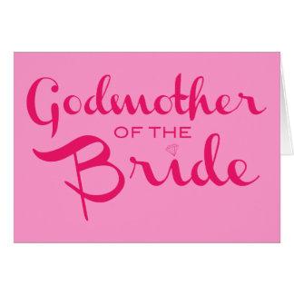 Madrina de las rosas fuertes de la novia en rosa tarjetas