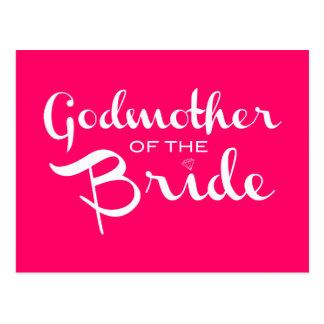 Madrina del blanco de la novia en rosas fuertes postal