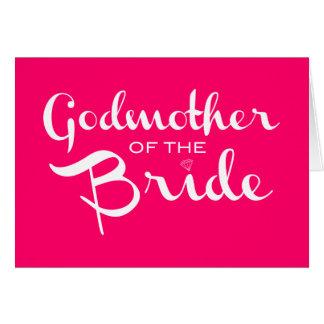 Madrina del blanco de la novia en rosas fuertes tarjetón