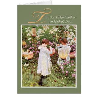 Madrina, el día de madre, chicas en el jardín de tarjeta de felicitación