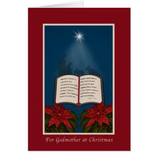 Madrina, mensaje abierto del navidad de la biblia tarjeta de felicitación