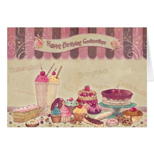 Madrina - tarjeta de cumpleaños - tortas y dulces