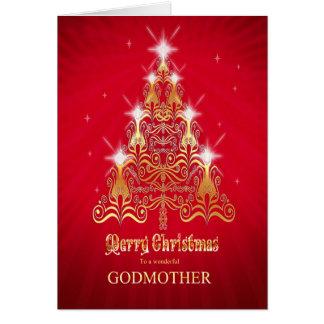 Madrina, tarjeta de Navidad estilizada del árbol