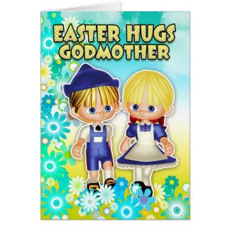 Madrina - tarjeta de pascua, dos niños en flores
