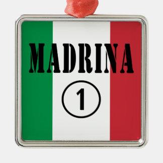 Madrinas italianas: Uno de Madrina Numero Adorno Cuadrado Plateado