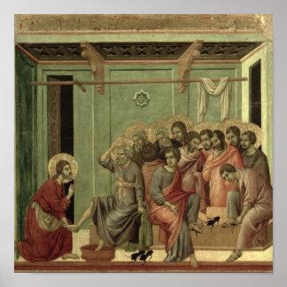 Maesta: Cristo que lava los pies de los discípulos Póster