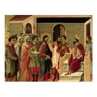 Maesta: Jesús antes de Herod, 1308-11 Postal