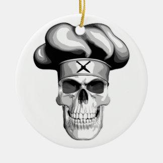 Maestro cocinero adorno redondo de cerámica
