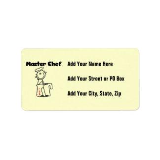 Maestro cocinero etiquetas de dirección