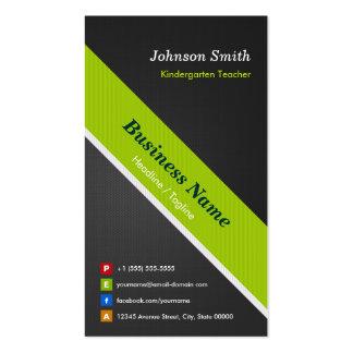 Maestro de jardín de infancia - negro y verde tarjetas de visita