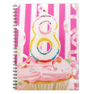 Magdalena del cumpleaños con el número 8 velas en  cuadernos