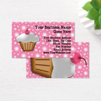 Magdalena del recorte con la panadería rosada de tarjeta de negocios