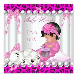 Magdalena linda del leopardo del rosa del chica de invitación 13,3 cm x 13,3cm