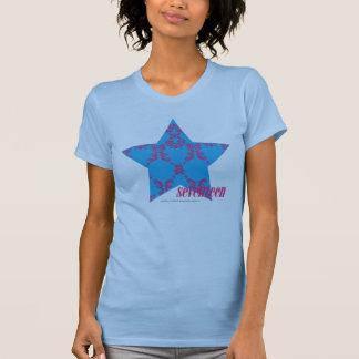 Magenta-Aguamarina 2 del damasco Camiseta