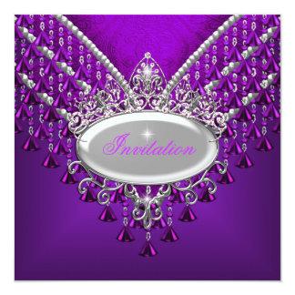 Magenta púrpura de la fiesta de cumpleaños invitación 13,3 cm x 13,3cm