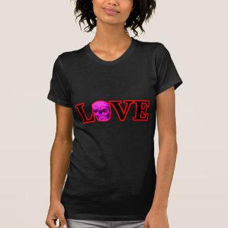 Magenta roja del cráneo del amor los regalos de camiseta