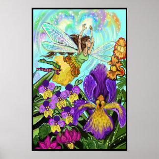 Magia de la hada del jardín de flores póster