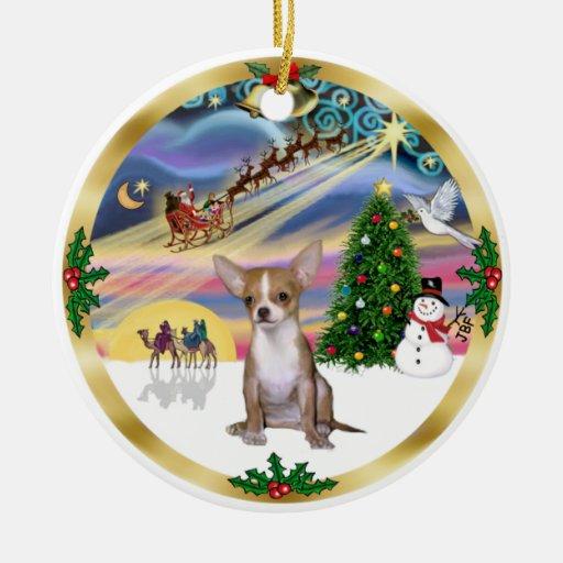 Magia de Navidad - Chihuahua1 Ornamento Para Arbol De Navidad