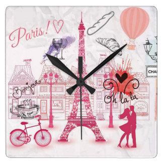 Magia de París Reloj Cuadrado