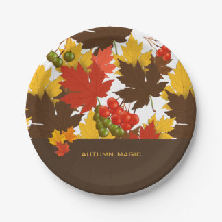 Magia del otoño plato de papel