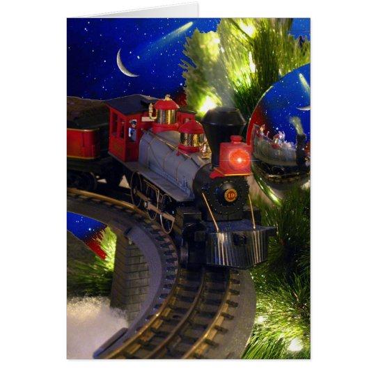 Magia del tren del juguete tarjeta de felicitación