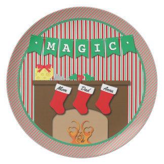 Magia • Noche antes del navidad • 3 medias Plato Para Fiesta