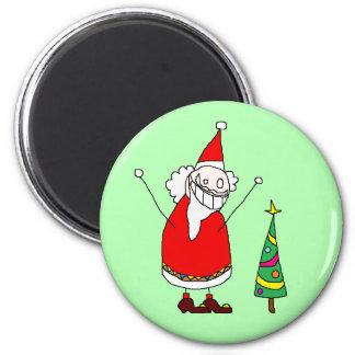 Magnet Funny Santa Noël n°1 Imán Redondo 5 Cm
