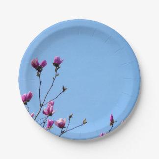 Magnolia azul y rosada plato de papel