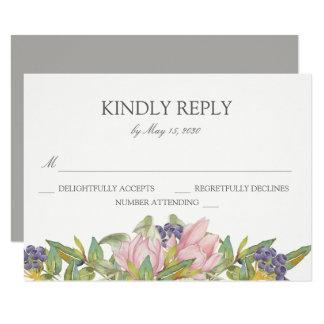 Magnolia dulce que casa la tarjeta de RSVP