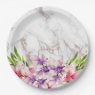Magnolias de la acuarela, falsa textura de mármol plato de papel