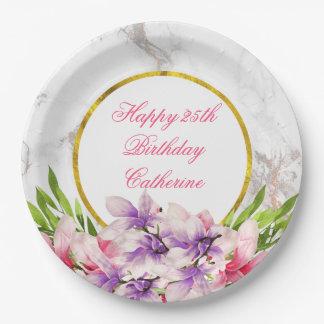 Magnolias de la acuarela, falso cumpleaños de plato de papel