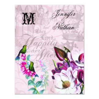 Magnolias de los colibríes que casan la tarjeta de invitación 10,8 x 13,9 cm