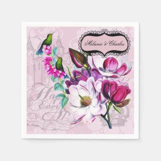 Magnolias de los colibríes que casan las servilletas de papel