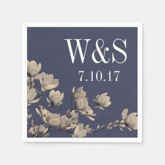 Magnolias meridionales y boda azul de medianoche servilletas desechables
