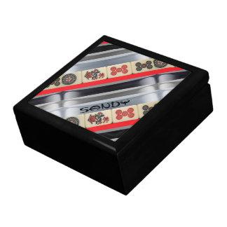 Mahjong con monograma joyero cuadrado grande