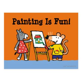 Maisy y pintura manchada en el preescolar postal