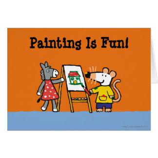 Maisy y pintura manchada en el preescolar tarjeta de felicitación
