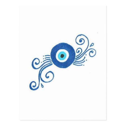 mal de ojo azul redondo tarjetas postales