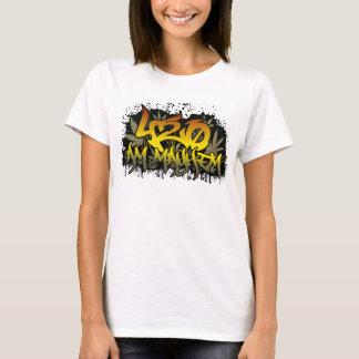 Mala hierba para mujer de la camiseta 420am Rasta
